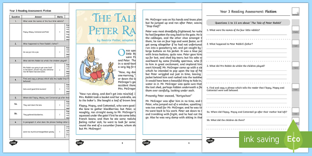 Year 3 Reading Assessment Fiction Term 2 - test, sats, summative, diagnostic, comprehension