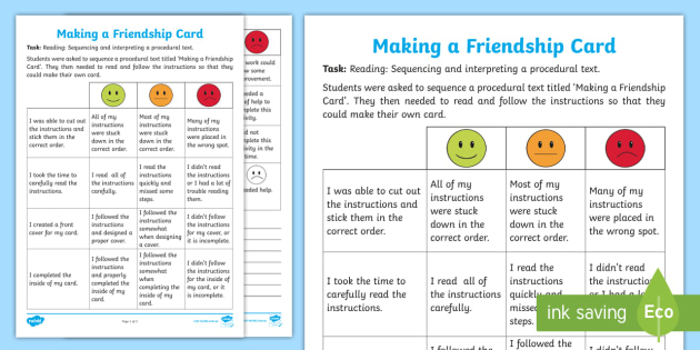 making a friendship card assessment tracker