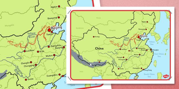 Map of China Display Poster - china, map, poster, display poster