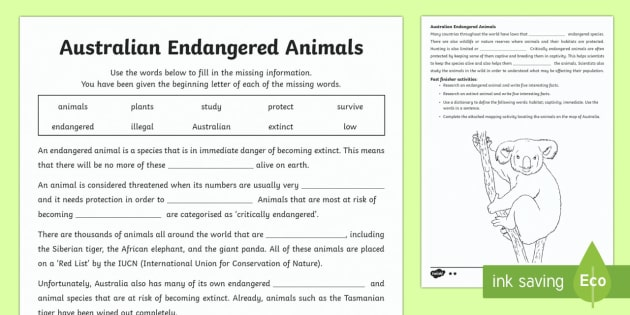 Endangered Australian Animals Differentiated Worksheet / Activity Sheets - Australian Animals, reptiles, cloze passages, worksheet / activity sheets, word search, research, fast finisher,