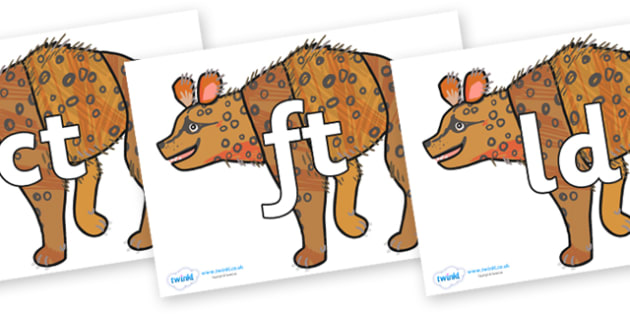 Final Letter Blends on Hyena to Support Teaching on The Bad Tempered Ladybird - Final Letters, final letter, letter blend, letter blends, consonant, consonants, digraph, trigraph, literacy, alphabet, letters, foundation stage literacy