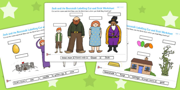 Jack and the Beanstalk Scene Labelling Cut and Stick Worksheet