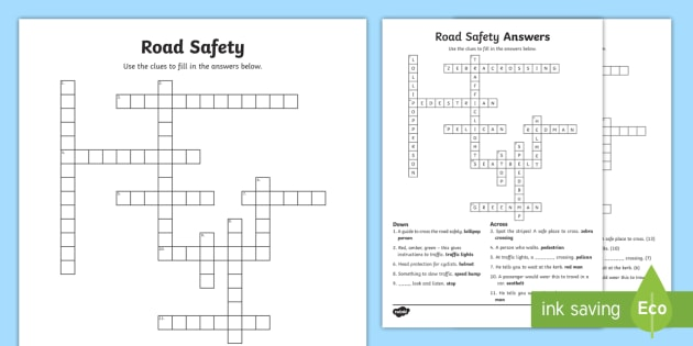 Ks2 Road Safety Crossword Green Cross Code Staying Safe Zebra