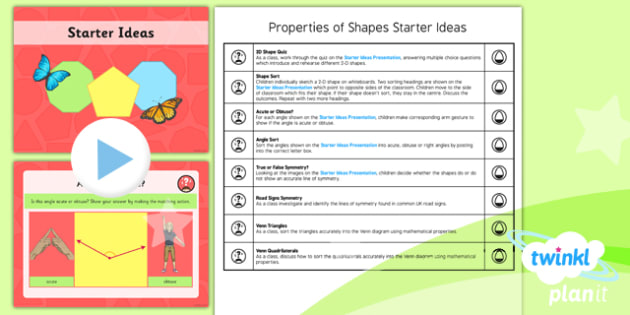PlanIt Maths Y4 Properties of Shapes Starter Ideas Pack
