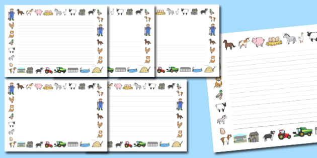 Landscape Farm Page Borders - farm, animals, pig, horse, sheep, cow, writing, independent, frame, independent