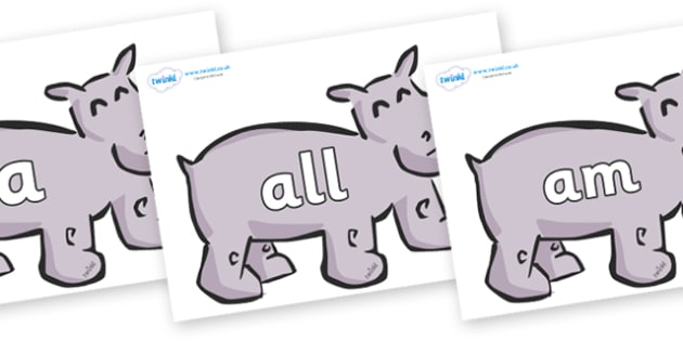 Foundation Stage 2 Keywords on Hippos - FS2, CLL, keywords, Communication language and literacy,  Display, Key words, high frequency words, foundation stage literacy, DfES Letters and Sounds, Letters and Sounds, spelling