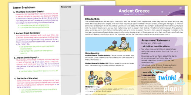 History: Ancient Greece UKS2 Planning Overview