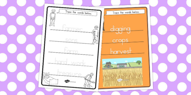 The Farmer and His Sons Trace the Words Worksheets - australia