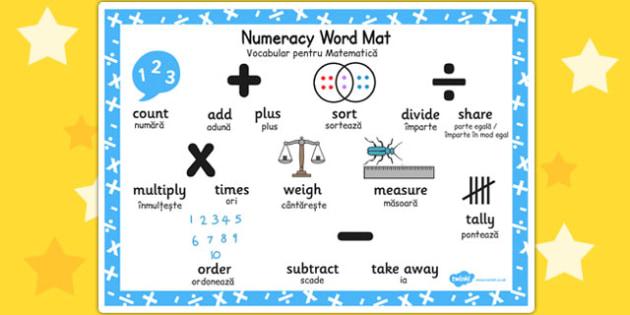 Numeracy Instructions Word Mat Romanian Translation - romanian