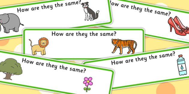 How Are They The Same Activity Cards - similarities, SEN cards