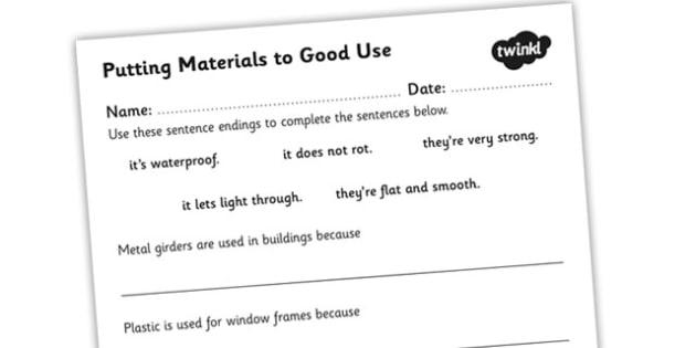 Putting Materials To Good Use Worksheet Materials Materials