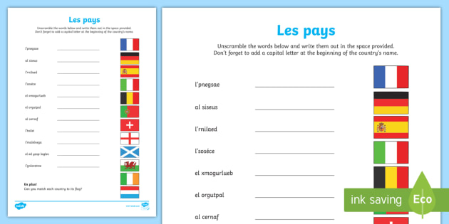 Countries Word Unscramble French Countries Ks2 Ks1 Flags Writing