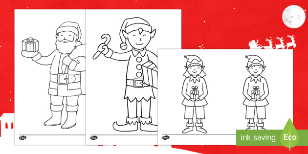 Santa and His Elves Colouring Page - elf, santa, pixies, presents, Christmas night, jolly, ho ho ho,