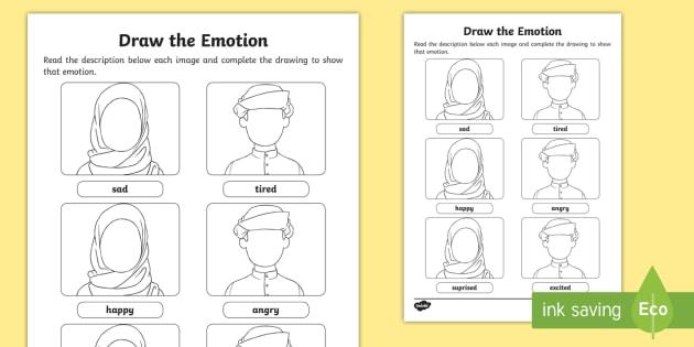 draw the emotion worksheet worksheet emotions feelings all about me. Black Bedroom Furniture Sets. Home Design Ideas
