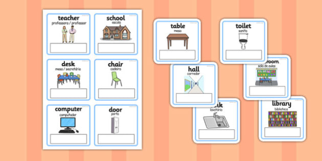 EAL Everyday Objects at School Editable Cards with English Portuguese Translation - foreign language, organisation, classroom, labels, own, early years, change, ks1, ks2, new starter, chairs, tables, names