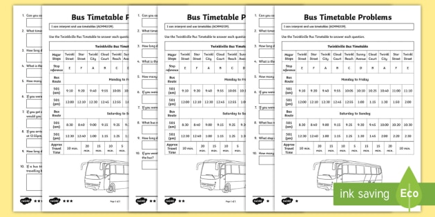 Reading a Bus Timetable Differentiated Worksheet Activity