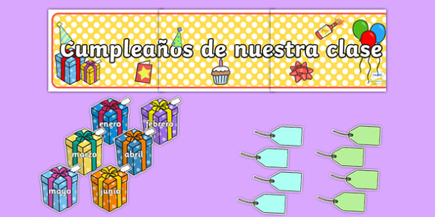 Cumpleaños de nuestra clase - spanish, Birthday set, birthday display, banner, birthday, birthday poster, birthday display, months of the year, cake, balloons, happy birthday