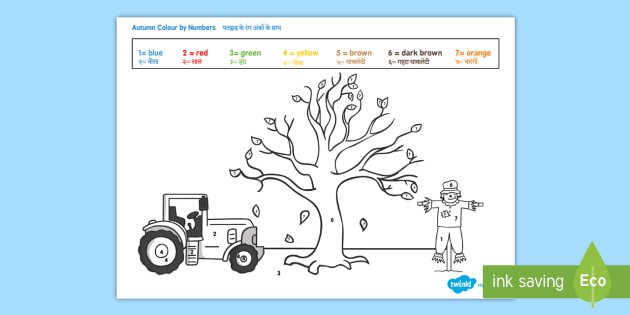 Autumn Themed Colour by Numbers Worksheet / Worksheet English/Hindi ...