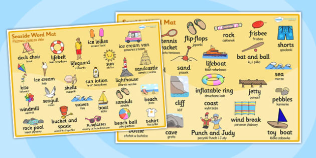Seaside Word Mat Polish Translation - polish, seaside, word mat