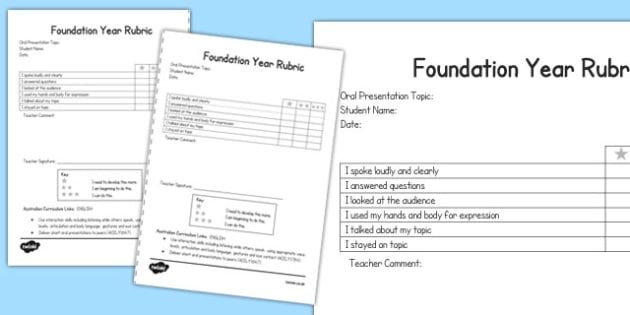 Oral Presentation Rubric Foundation - australia, oral, presentation, rubric, foundation