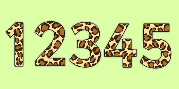 Leopard Pattern Display Numbers (Small) - safari, safari numbers, safari display numbers, leopard display numbers, leopard pattern display numbers, leopard