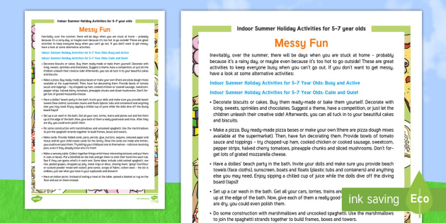 Indoor Summer Holiday Activities For 5 7 Year Olds Messy Fun