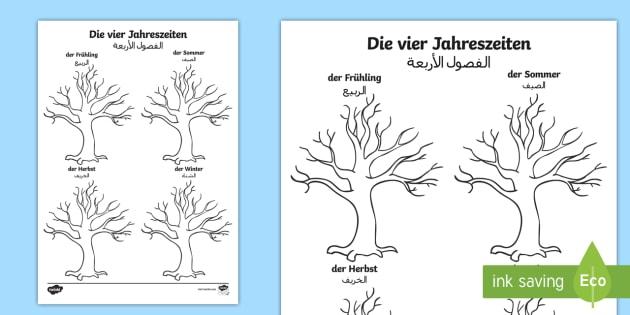 Beleuchtungszonen Und Jahreszeiten Arbeitsblatt : Deutsch arabisches der jahreszeiten baum arbeitsblatt