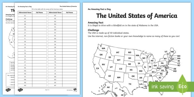 The United States of America Worksheet / Worksheet - USA ...