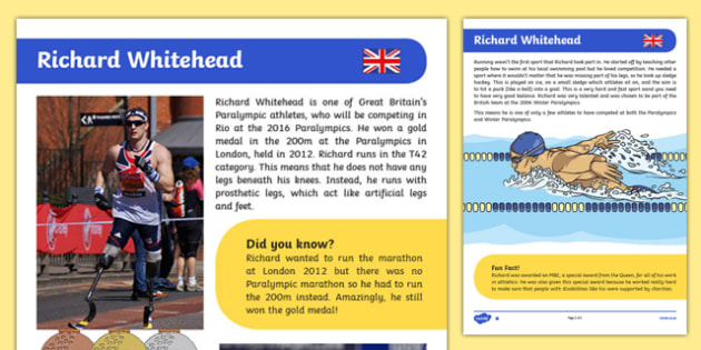 British Paralympian Richard Whitehead Differentiated Fact File