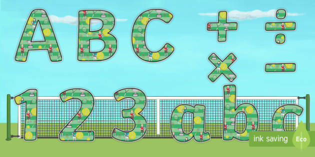 Wimbledon A4 Themed Display Lettering - sports, tennis, pe, sport