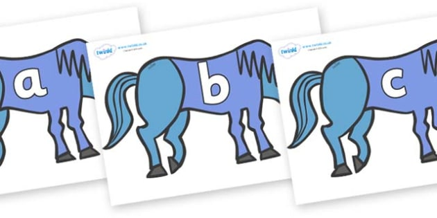 Phase 2 Phonemes on Blue Horse to Support Teaching on Brown Bear, Brown Bear - Phonemes, phoneme, Phase 2, Phase two, Foundation, Literacy, Letters and Sounds, DfES, display