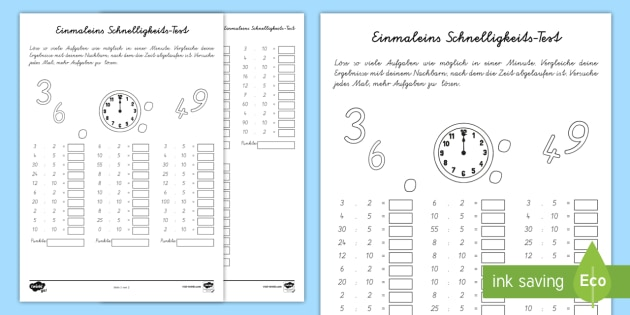 Year 2 Maths Times Tables Speed Tests Homework Activity Sheet