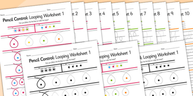 Pencil Control Looping Workbook - pencil control, motor skills
