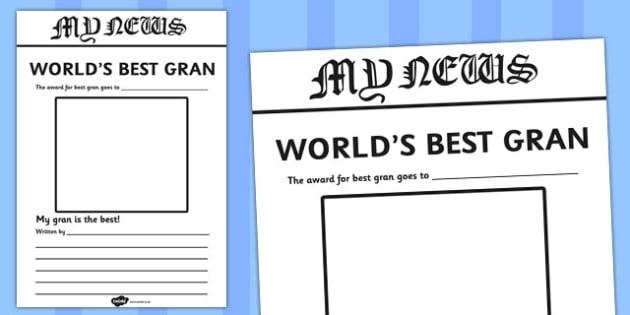 World's Best Gran Newspaper Writing Template - newspaper, template, gran