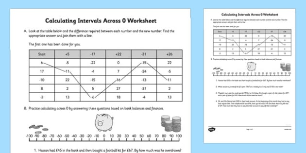 Calculating Intervals Across 0 Worksheet - calculating, intervals