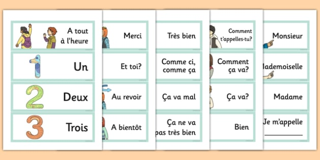 French Year 3 Getting to Know You Word Cards - french, cards