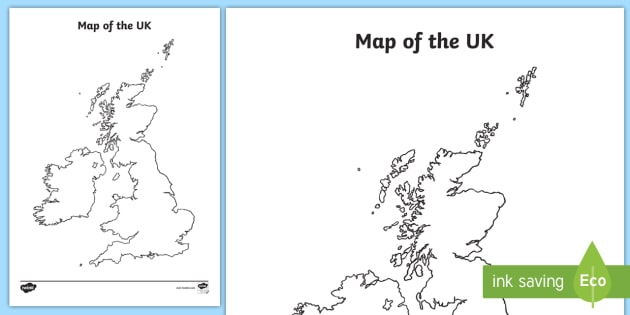 Map Of England For Ks1.Great Britain Map Outline Primary Resource