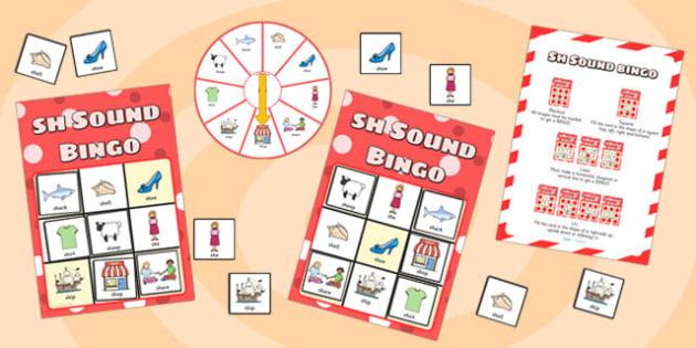 sh Sound Bingo Game with Spinner - sh sound, sound, sounds, bingo
