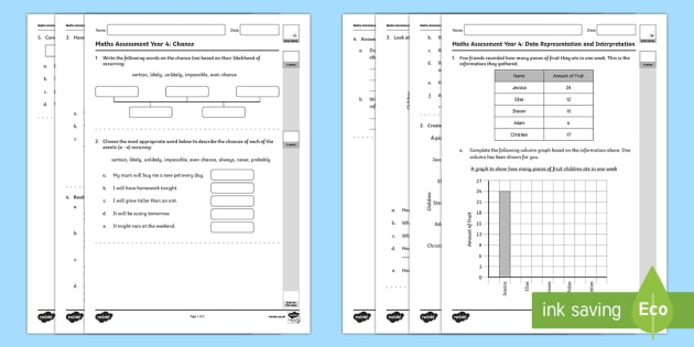 Year Four Statistics and Probability Assessment Pack -  Mathematics Assessments, statistics, probability, maths, australia