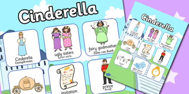 Cinderella Vocabulary Poster Romanian Translation - romanian, eal