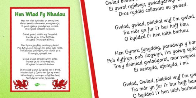 Hen Wlad Fy Nhadau Cymraeg Poster - welsh, national anthem, poster, display, anthem
