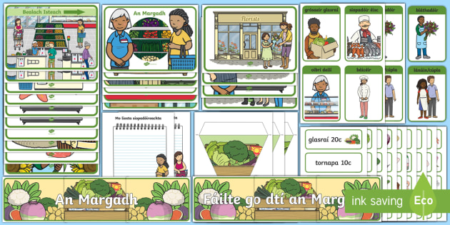The Market Aistear Display Pack Gaeilge - the Markets, An Margadh, infants, Irish, oral language, supermarket, food, vegetables, shopping