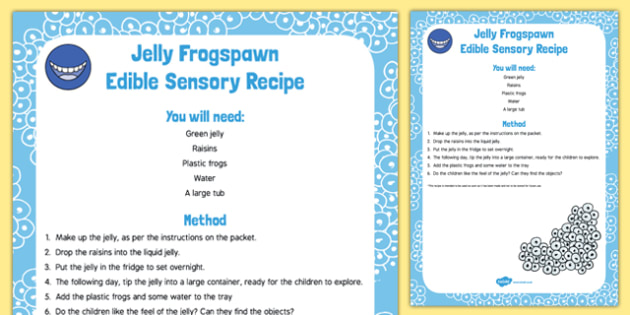 Frog Life Cycle Edible Sensory Recipe - frogspawn, jelly, eat, senses, toddlers, eyfs, early years, babies, baby, frogs