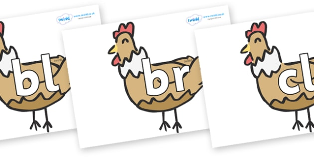 Initial Letter Blends on French Hens - Initial Letters, initial letter, letter blend, letter blends, consonant, consonants, digraph, trigraph, literacy, alphabet, letters, foundation stage literacy