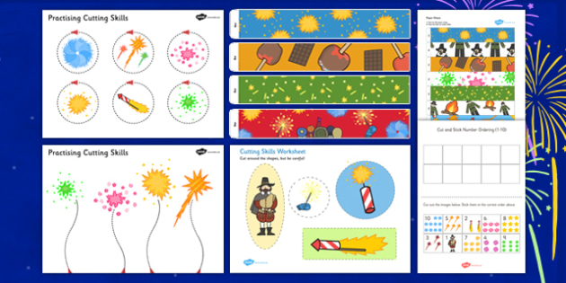 Bonfire Night Themed Scissor Skills Pack - bonfire night, themed, scissor, skills, pack