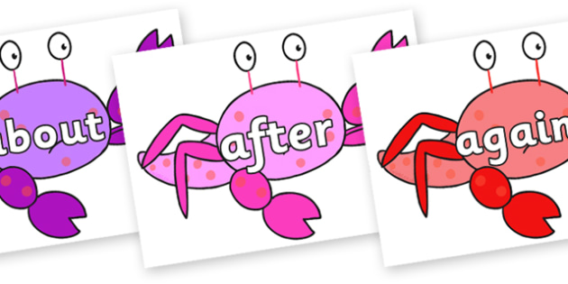 KS1 Keywords on Crab to Support Teaching on Sharing a Shell - KS1, CLL, Communication language and literacy, Display, Key words, high frequency words, foundation stage literacy, DfES Letters and Sounds, Letters and Sounds, spelling