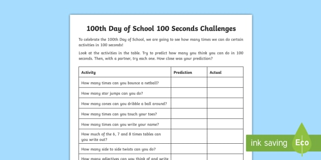 100 Days of School '100 Second Challenges' Worksheet / Worksheets ...