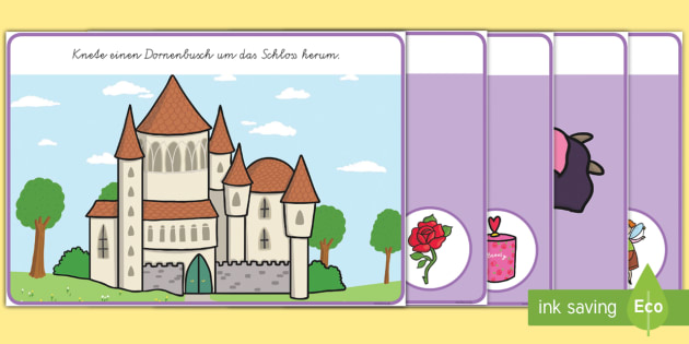 Dornröschen: Bilder zum Ergänzen Knetunterlagen - Dornröschen, Märchen, Knetunterlagen, Bilder, German