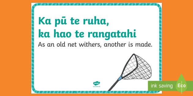 Whakatauki Ka Pū Te Ruha Display Poster Proverb Whakatauki