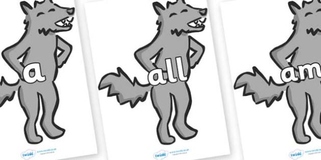 Foundation Stage 2 Keywords on Wolf - FS2, CLL, keywords, Communication language and literacy,  Display, Key words, high frequency words, foundation stage literacy, DfES Letters and Sounds, Letters and Sounds, spelling